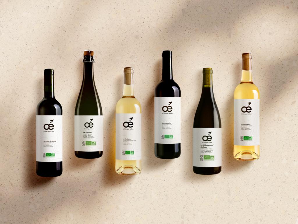 Oé produit et commercialise une belle gamme de 12 références de vins bio, en rouge, en blanc et en rosé.