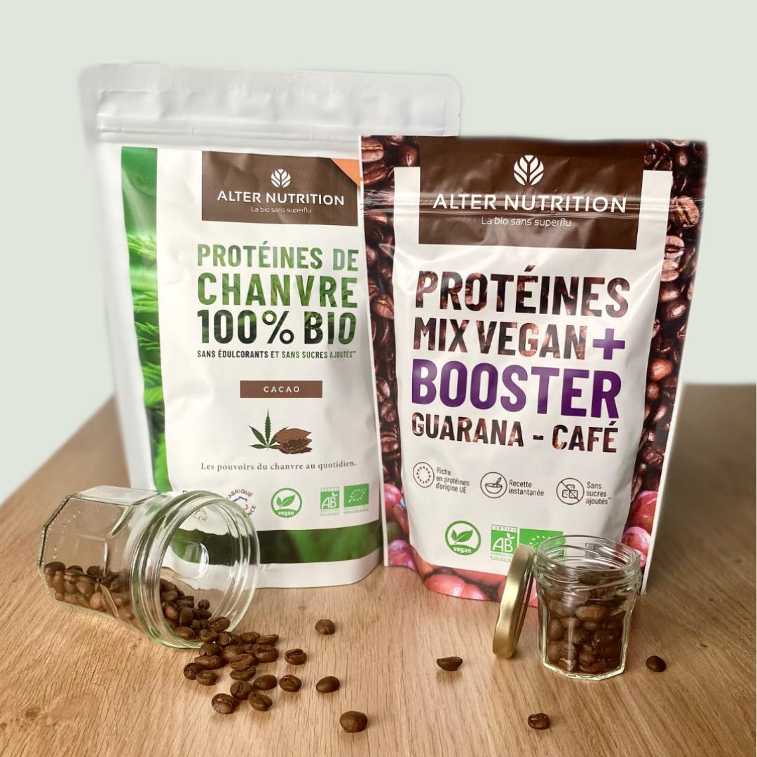protéines de chanvre bio et protéines mix vegan Alter Nutrition
